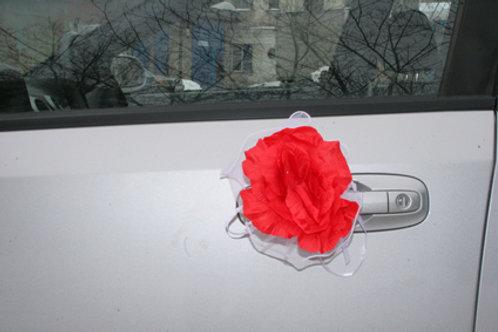 Банты на ручки и зеркала машины красные 4шт