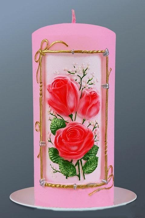 Свеча столбик Букет роз
