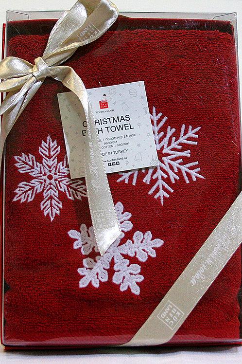 Полотенце 50*90см хлопок красное Снежинки