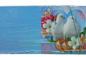 Приглашение на свадьбу голубое с голубями