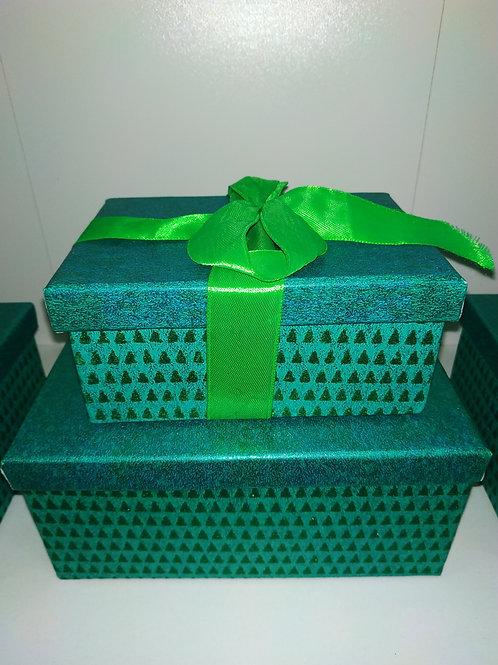 Коробка подарочная 20*14*9см прямоугольная картон зелёная