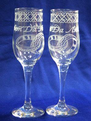 Фужеры под шампанское Прозрачные с кольцами