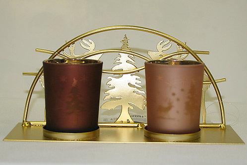 Подсвечник 22*10см 2 свечи металл/стекло золотой Олени и ёлка