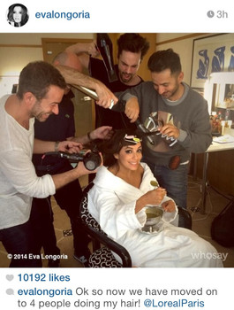 Eva Longoria getting ready for the red carpet in Cannes with four hairdressers from L'oréal Paris
