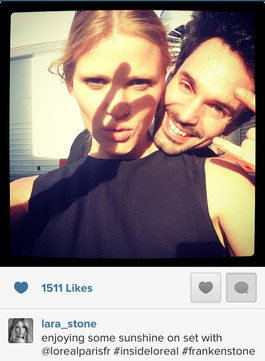 Lara Stone and Tobias Sagner backstage in the sun for L'oréal Paris