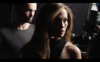 Jennifer Lopez and Tobias Sagner backstage in Los Angeles for L'Oréal Paris on a hair commercial