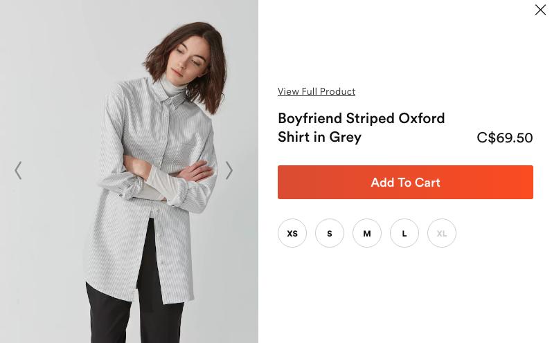 Boyfriend Striped Oxford Shirt in Grey