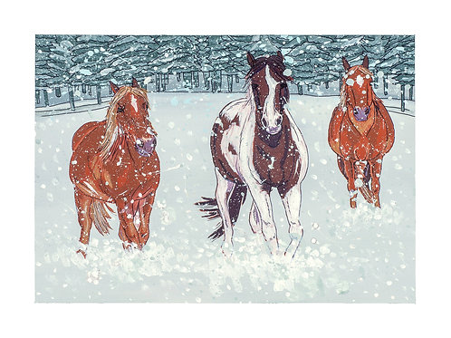 WINTER HORSES PRINT