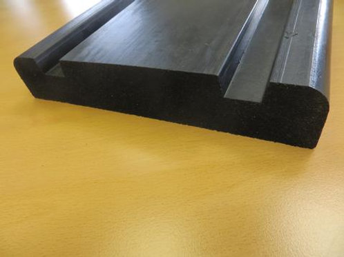 black rubber wall guard on wooden flor