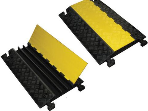 black hose and cable ramp on white background