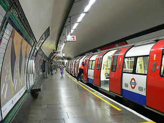 Tube leaving the station on london underground