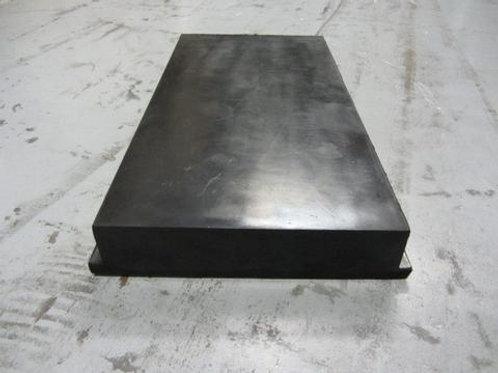 black rubber front plate on concrete floor