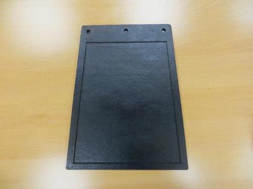 black mud flap on wooden table