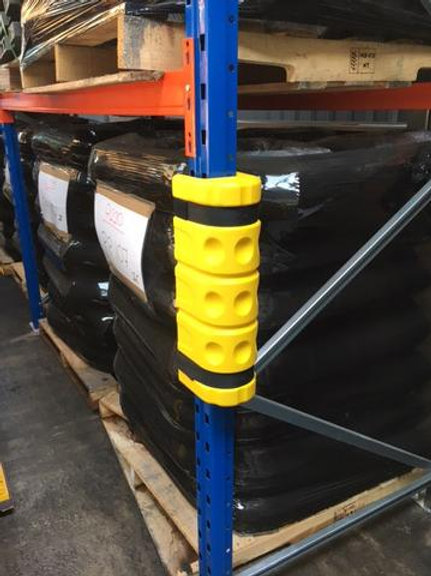 yellow racking protector in a warehouse