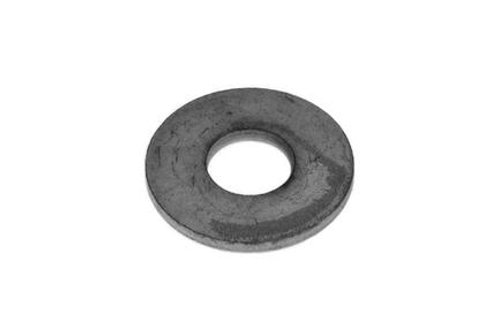circular steel fixing on white background