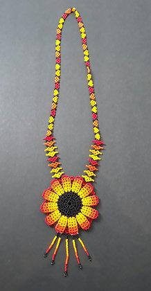 Necklace - Sunflower - Orange Petals Outside
