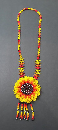 Necklace - Sunflower - Single Orange & Yellow Petals
