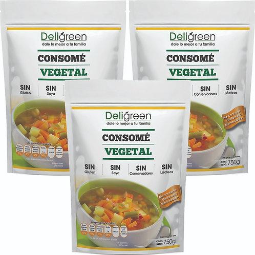 Kit 3 bolsas de consomé vegetal  natural 750g