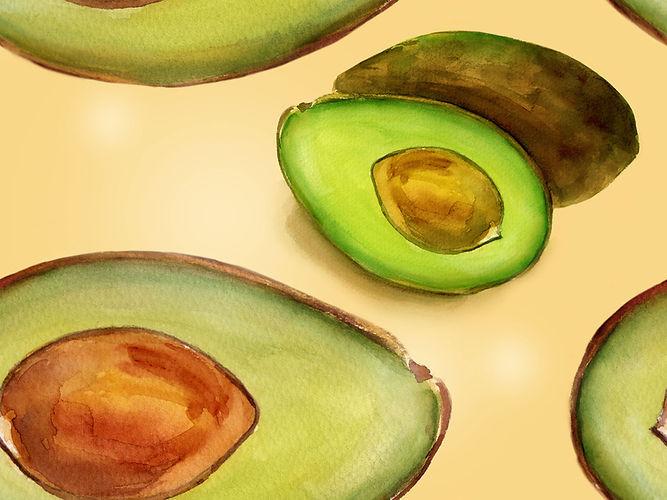 Avocado Watercolor Print