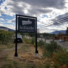 Hillside Winery custom made aluminum signs. Fabricated and installed from local Penticton sign shop.