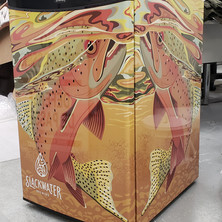 Slackwater Brewing mini fridge large format print wrap, installed by Penticton 3M preferred installer.