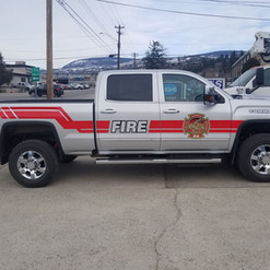 Osoyoos Fire Department truck with reflective cut vinyl graphics. Installed by our 3M preferred installer in Penticton.