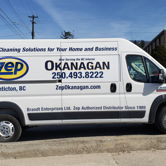 Zep Okanagan transit van vinyl decals. Another vehicle added to the fleet!