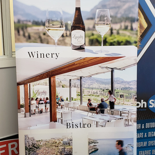Liquidity large format print pop-up banner for winery.