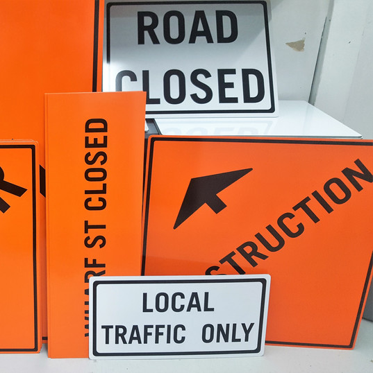 Reflective construction and road signage with sign frames in Penticton