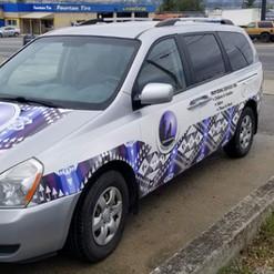 Partial van wrap with large format print vinyl