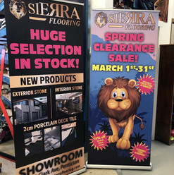 Tradeshow pop-up banners for Sierra Flooring. Get all of your tradeshow and marketing items on all different medias with our large format printing services.