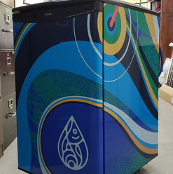 Slackwater Brewing mini fridge large format print wrap, installed by Penticton 3M preferred installer.