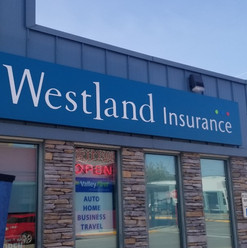 Westland Insurance fascia sign with custom built LED backlit sign cabinet. Fabricated, and installed by local Penticton sign shop.