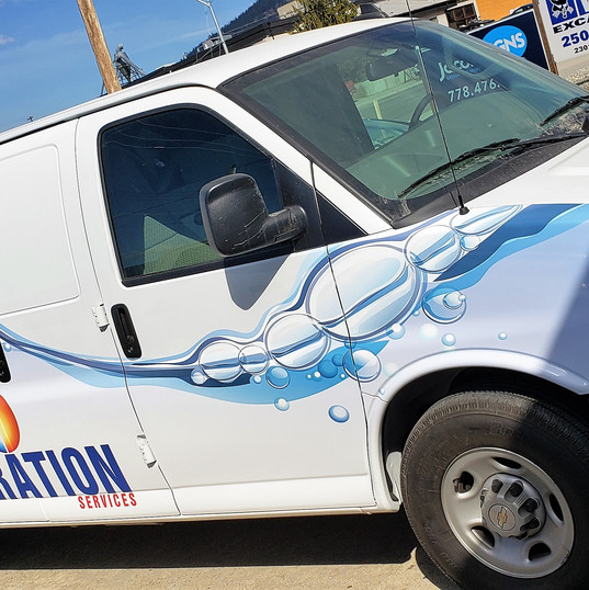 Another custom designed van to add to Total Restorations fleet vehicle graphics.