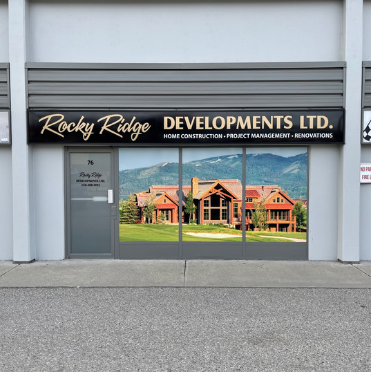 Rocky Ridge sign cabinet with backlit transluscent graphics with new large format print window mural.