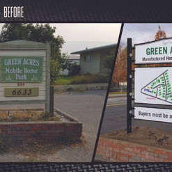Before & after aluminum directory sign in Penticton mobile home park