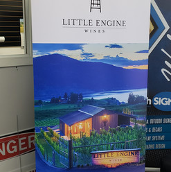 Little engine large format print pop-up banner. Printed in house custom banners and signs.