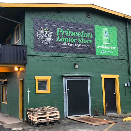 Concrete vinyl graphics for Princeton Liquor Store.