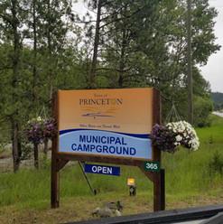 Updated municipal campground entrance signage.