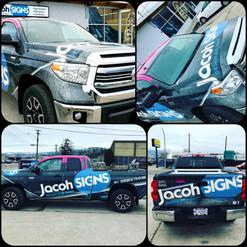 Custom designed full colour change wrap. Jacoh Signs branding elements and logo creation.