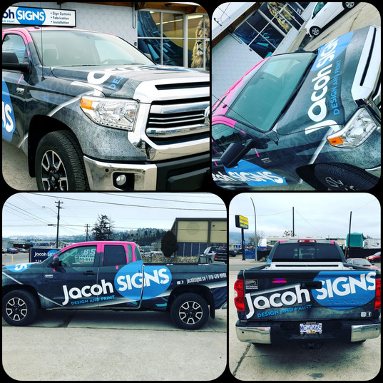 Custom designed full colour change wrap. Jacoh Signs branding elements and logo creation.