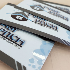 Business cards with spot UV enhancements. Logo creation and branding package for First Pitch Cleaning.