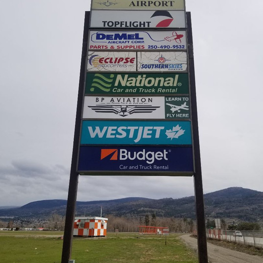 Pylon sign installed by Penticton local sign shop