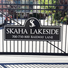 Shape cut aluminum sign, powder coated with 3 dimensional CNC cut lettering