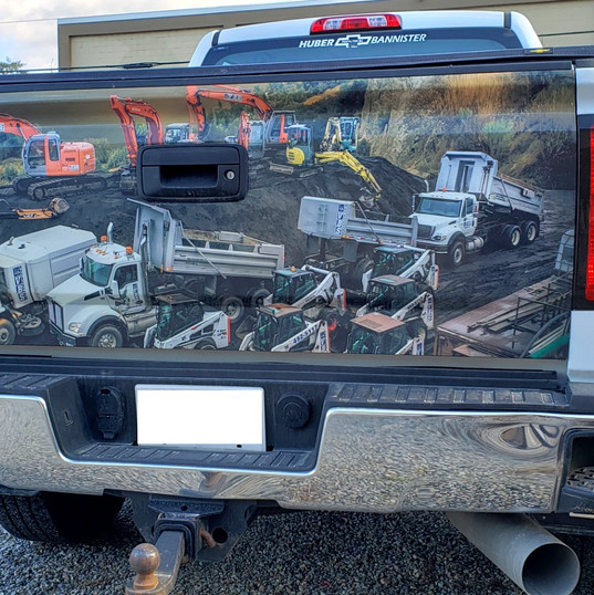 Tailgate wrap from large format Roland printer.