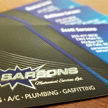 Custom designed business cards with metallic accents. Part of Sarsons new branding and logo design.