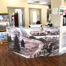 Large format print mural transforming the counter space in the City of Princeton office. Wrapped by our 3M preferred installer.