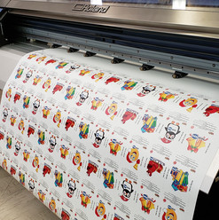 Roland large format printing services. Custom designed stickers for Jacoh Signs parade float.