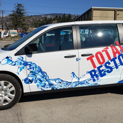 New 3m graphics for Total Restoration fleet vehicle. Installed by 3m preferred installer at Penticton local sign shop.