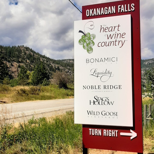 Billboard aluminum sign for 5 wineries in Okanagan Falls.